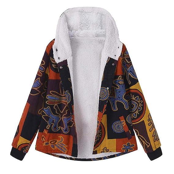 Luckycat Abrigo Mujer Invierno Rebajas Impreso más Grueso Chaqueta Suéter Abrigo Jersey Mujeres Talla Grande Suelto