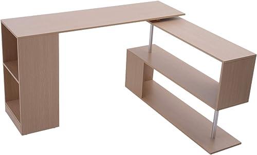 HOMCOM Modern L Shaped Rotating Computer Desk with Shelves – Oak