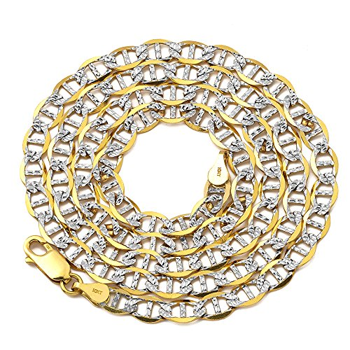 LoveBling 10K Yellow Gold 5mm 18'' Solid Pave Two-Tone Mariner Chain Necklace with Lobster Lock by LOVEBLING (Image #3)