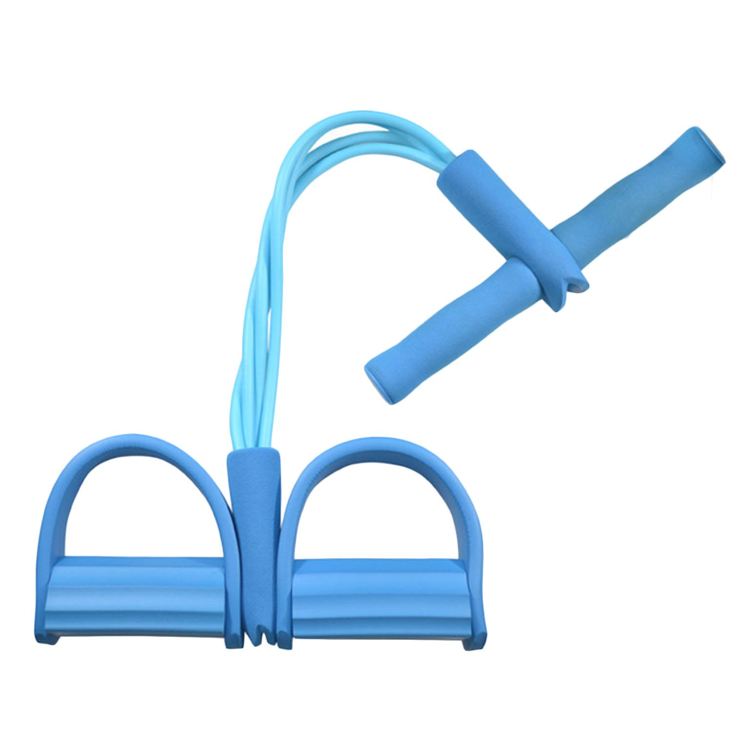 Multifunction Resistance Training 4 Tube Leg Exerciser Pull Rope Bands Yoga Fitness Foot Pedal Pull Ropes Sit Up Bodybuilding Expander For Home Gym
