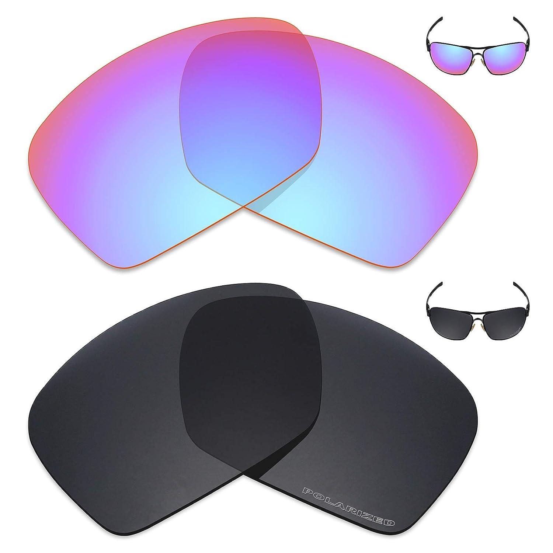 d5d41aeb8a Amazon.com  Mryok+ 2 Pair Polarized Replacement Lenses for Oakley Plaintiff  Squared Sunglass - Cobalt Rose Stealth Black  Sports   Outdoors