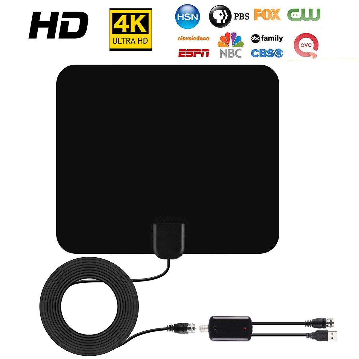 TV Antenna ,SUNRASE13ft Upgraded USB Powered Amplified Antenna1080P 50 Miles Range Indoor Digital HDTV Antenna Indoor with 13 FT Coax Cable for Local Channels