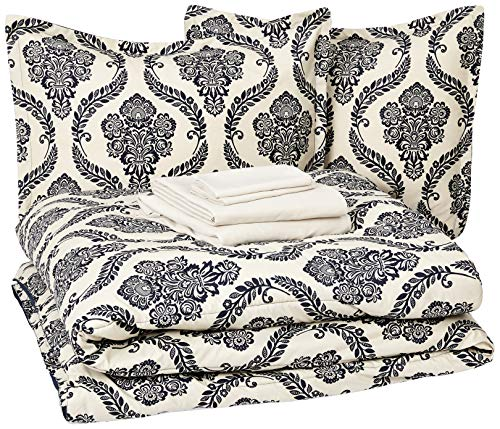 AmazonBasics Bed-in-a-Bag - Soft, Easy-Wash Microfiber - 8-Piece Full/Queen, Blue and Tan Damask ()