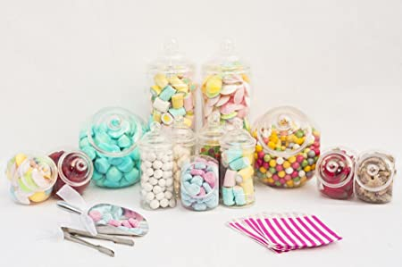 10 Plastic Sweet Candy Jars Buffet Kit 2 Scoops 2 Tongs 100 Candy Bags