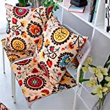 Indoor/Outdoor Multicolored Modern Floral Tufted Seat Cushion, 2-Pack Chair Pads Kitchen Garden Dining Patio