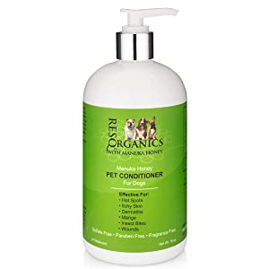 Dog Conditioner for Dry Itchy Skin - Hypoallergenic Manuka Honey Healing Pet Conditioner for Dogs with Sensitive, Dry Itchy Skin, Shedding Issues, and Mange. Organic Skin Soother for Dogs!