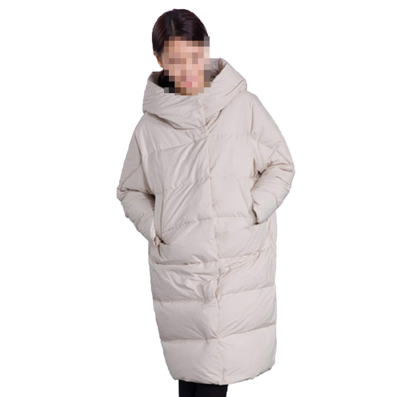 Beige Winter Jacket Women Long Thick Warm Hooded Women's Down Jacket Windproof Loose Coat Outwears