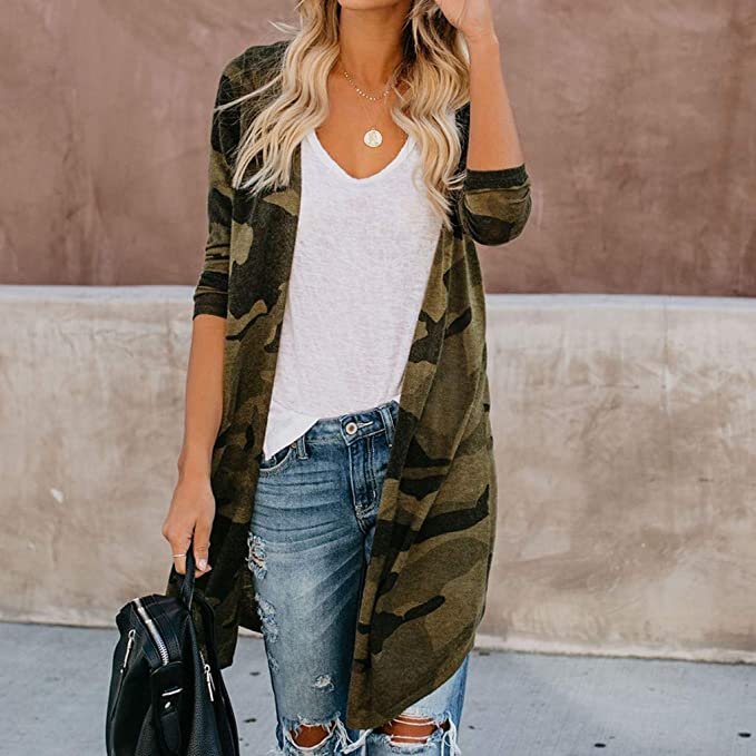 Womens Trendy Long Cardigan Ladies Soft Long Sleeve Camouflage Print Duster Coat Parka Outerwear