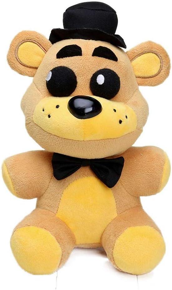 DEERO 25cm FNAF Freddy Fazbear Juguetes de Felpa Cinco Noches en Freddy'S Golden Bear Nightmare Cupcake Foxy Globo niño Payaso muñecas de Peluche (Gold Black Hat Bear)