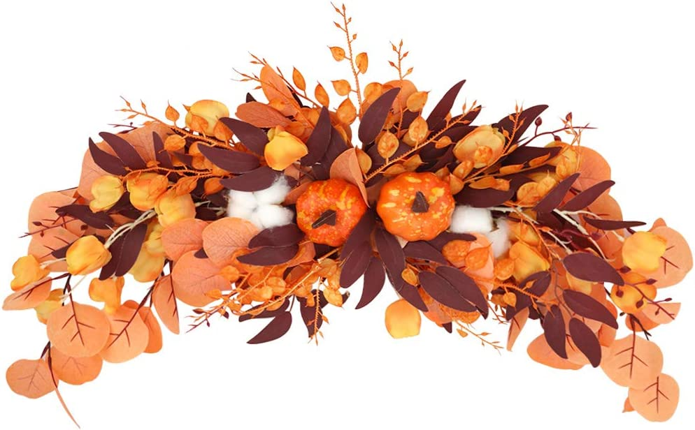 LSME Large Artificial Flower Swag with Maple Leaf and Pumpkins Cotton Garland for Home Decoration Front Door Wall Rustic Wedding Arch 29inch
