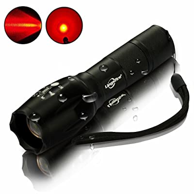 LingsFire Zoomable Scalable LED Flashlight T6 18650 Or AAA Battery Supported Flashlight 2000 Lumen T6 Tactical Torch Glim Lantern (Red Light)