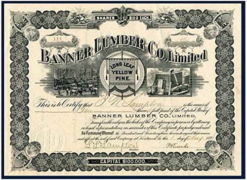 1896 RARE ORIGINAL 1896 KENTWOOD LOUSIANA LUMBER STOCK (PRISTINE UNISSUED) SOUTHERN GEM from BRITNEY SPEARS' HOMETOWN $100/Share Choice Crisp Uncirculated