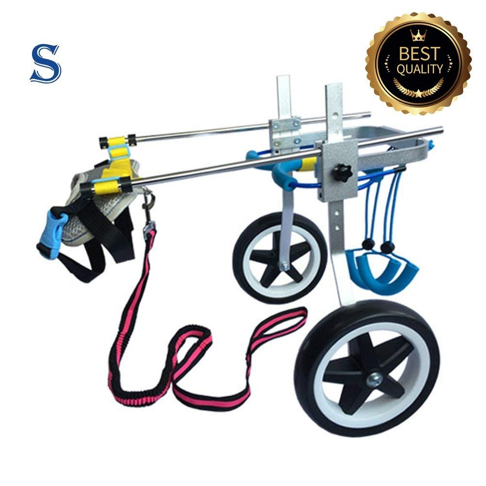 New! Two Wheels Adjustable Dog Wheelchair, cart, 7 Sizes for hind Legs Rehabilitation, 3D Soft Harness,Light Weight, Easy Assemble, Belly Band Specially for Spondylitis (4.New-S) by Newlife Mobility (Image #1)