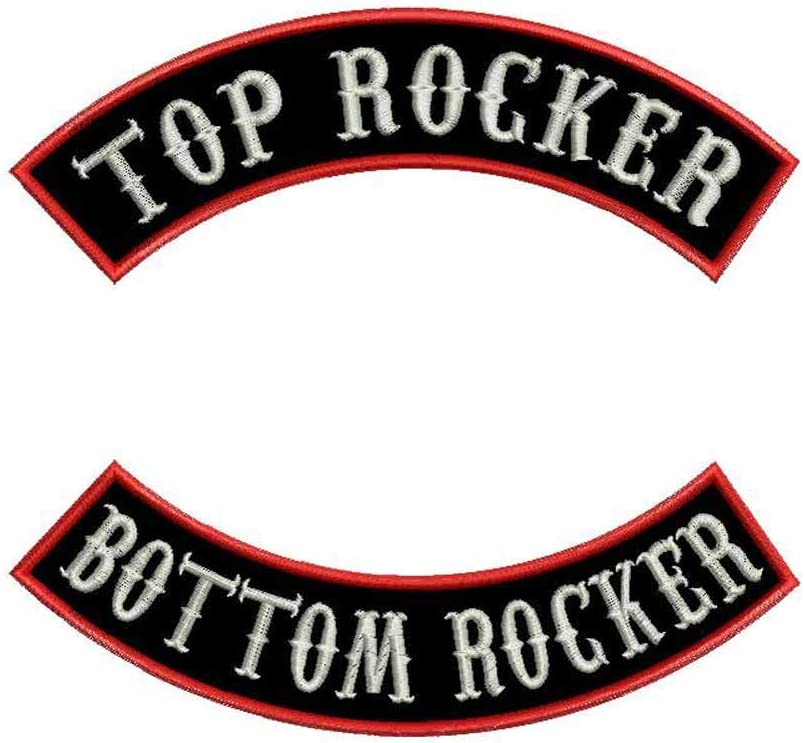 "MC Rocker Patches Custom Embroidered 13/"" Top /& Bottom Biker Club Sew on Iron On"