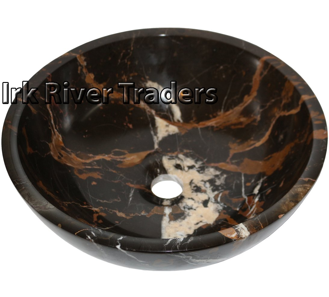 Irk River Traders Natural Marble Stone Basin Sink Bathroom Cloakroom Counter Top Wash Bowl Bath Countertop Sink Round 16