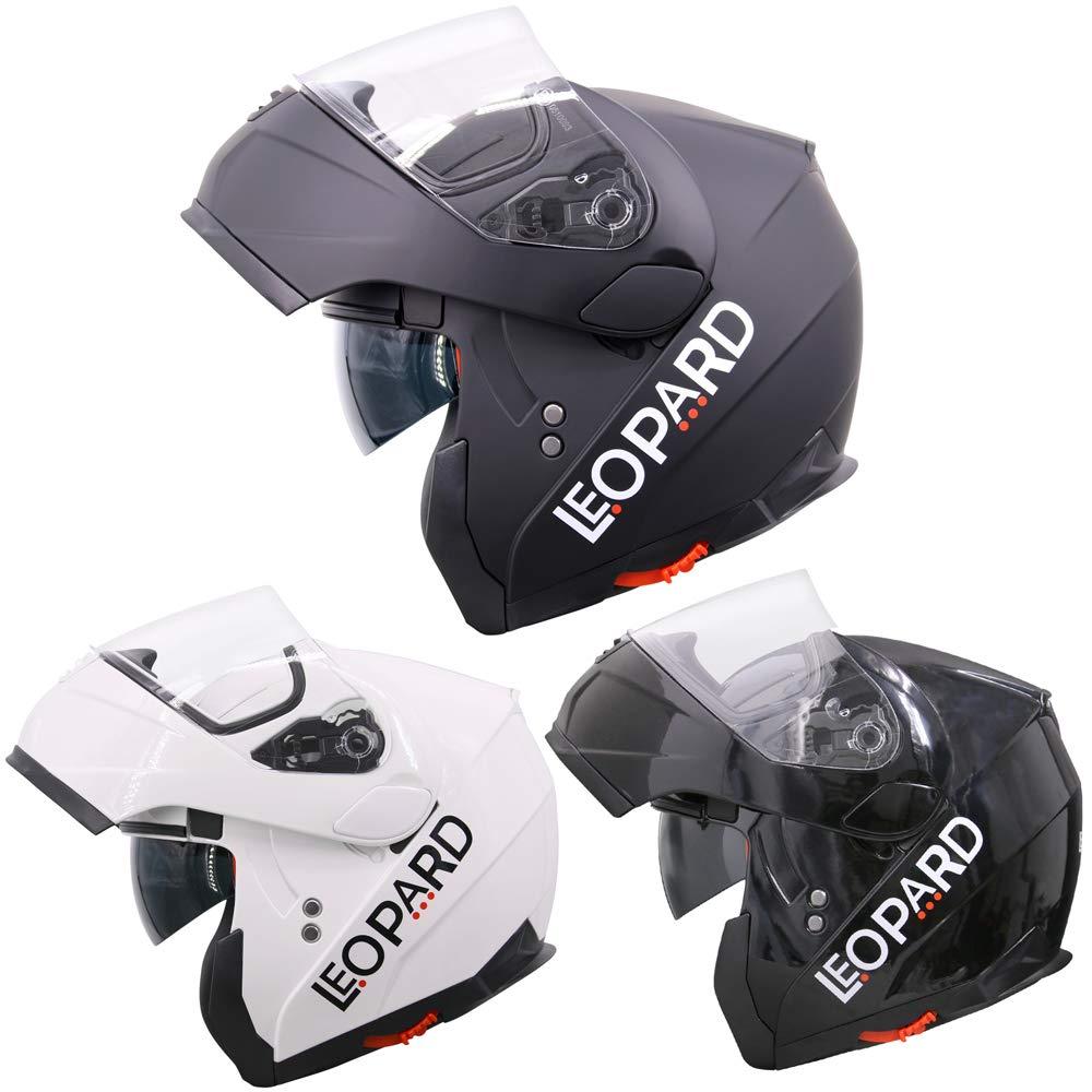 Leopard DOUBLE SUN VISOR Flip up front Motorcycle Motorbike Helmet ECE 2205 Approved - White L (59-60cm) Touch Global Ltd