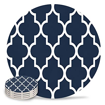 Buy Chic D Absorbent Drink Coasters Navy Blue Plaid Funny Stone Ceramic Coasters Set With Cork Back Base Backing For Mugs And Cups Set Of 8 Piece Elegant Moroccan Trellis Online At Low