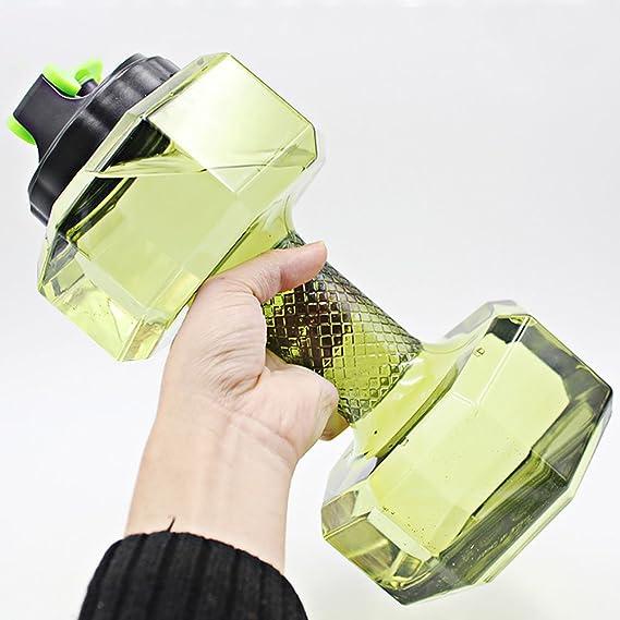 Dulcii Botella de agua en forma de mancuerna con gran capacidad de 2,2 l, PETG, ideal para viaje / Camping / ejercicio y deportes al aire libre, ...