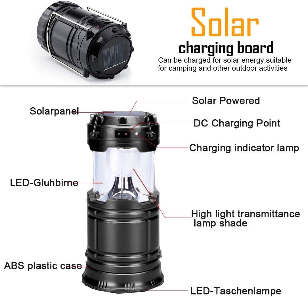 SaponinTree Solar Tragbare Au/ßenleuchte Nachtlicht Schwarz Batteriebetrieb,Wasserdicht Notfall Camping Au/ßenleuchte f/ür Wandern LED Camping Laterne Faltbar Angeln