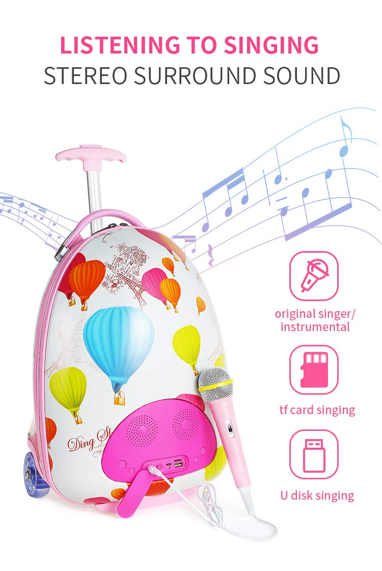 LUCKYBIRD Karaoke Machine for Kids Multifunctional Travel Luggage & Bluetooth Speaker with Microphone for Girls by LUCKYBIRD (Image #3)