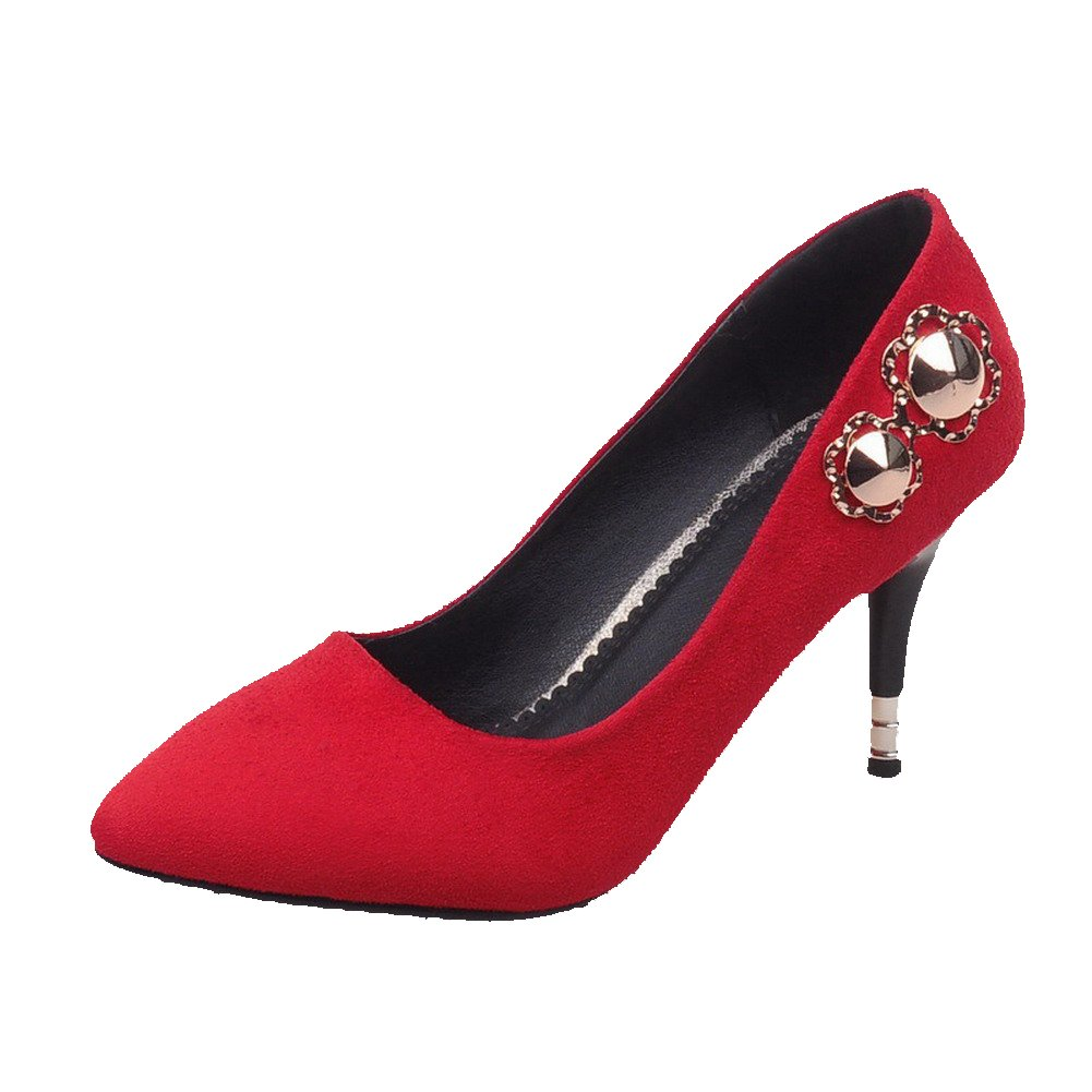 AmoonyFashion Women's Pull-on Pointed Closed Toe High-Heels Imitated?Suede Solid Pumps-Shoes, Red, 34