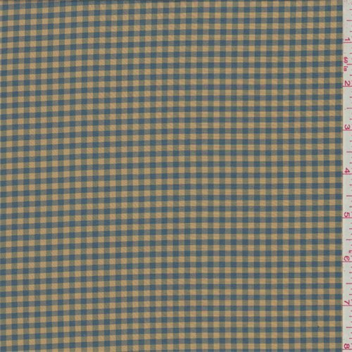 (Gold/Blue Gingham Check Silk Taffeta, Fabric by The Yard)