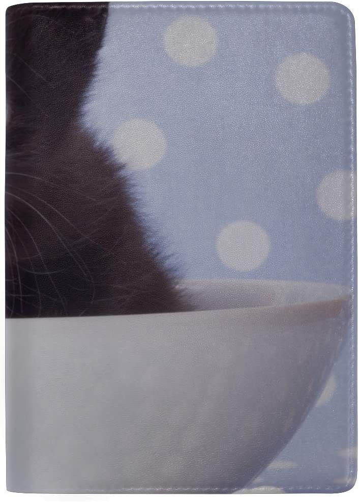 Cute Kitten Sitting In Large Cup Blocking Print Passport Holder Cover Case Travel Luggage Passport Wallet Card Holder Made With Leather For Men Women Kids Family