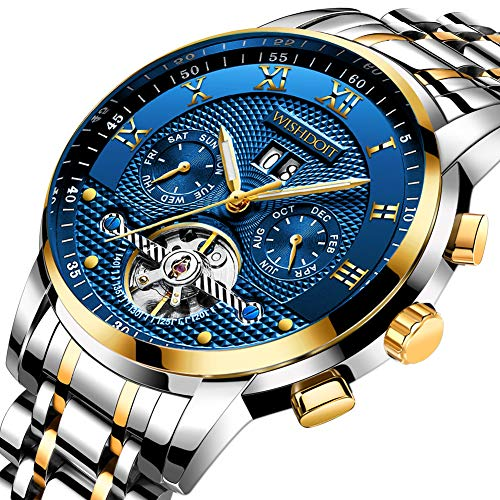 Mens Watches Luxury Fashion Automatic Date Stainless Steel Waterproof Mechanical Watch Gents Casual Business Dress Gents Wrist Watch Blue Silver