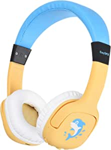 EasySM Bluetooth Headphones for Kids, Wireless Kids Headphones with Safe Volume Limited, Soft Memory Earmuffs Children Headset for iPad PC Cell Phones Tablet School Game (Yellow)
