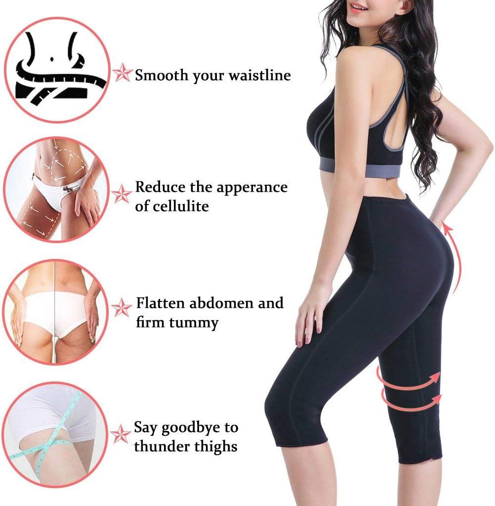 NHEIMA Leggins de Sudoracion Adelgazantes Mujer Fitness Push Up Cintura Alta Mallas Anticeluliticas Reductoras Cortas Corsarios Deportivos Termicos Compresion Sauna para Yoga Running Gym