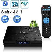 Android TV Box, T9 Android 8.1 4GB RAM/64GB ROM RK3328 Quad-Core Media Box Soporte 2.4Ghz/5.0Ghz WiFi 64 bits H.265 Bluetooth 4.1 DLNA UHD 4K Mini TV Box