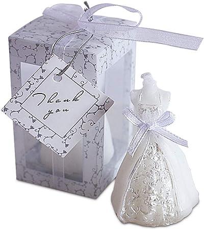 Gudelaa Novia Vela Blanca Elegante en Caja Nupcial Vestido de Novia Vestido de Novia de la Boda Regalo de decoración del Partido: Amazon.es: Hogar