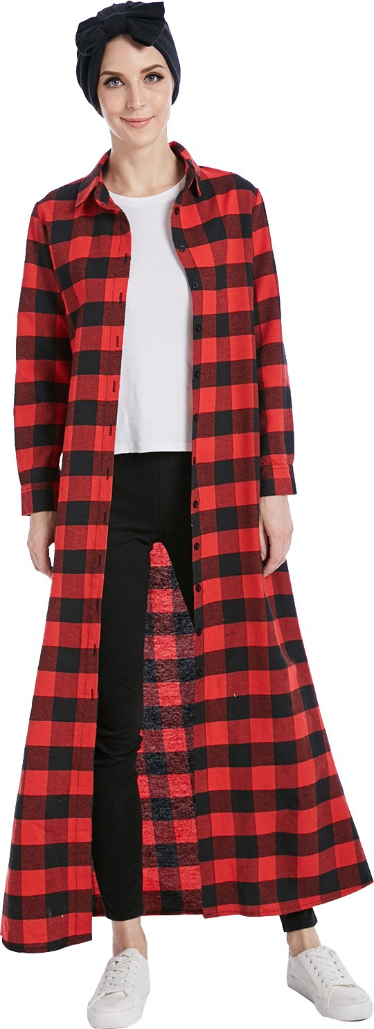 YI HENG MEI Women's Muslim Plaid Checkered Tartan Blouse Spring Autumn Long Coat with Wrap,Red,Tag L = US Size 6-8