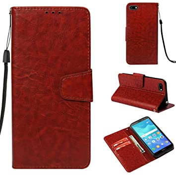 Amazon com: Huawei Y5 2018 Leather Case, Magnetic Closure