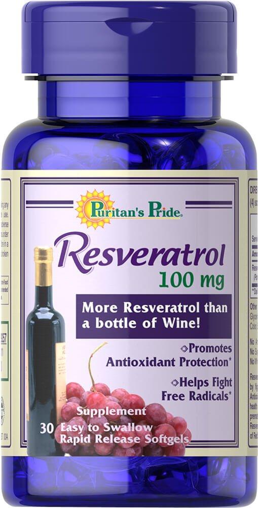 Puritan's Pride Resveratrol 100 mg- Trial Size-30 Rapid Release Softgels