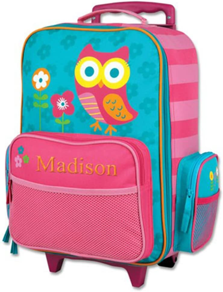 Kids Rolling Owl Embroidered Rolling Suitcase – Multiple Pockets