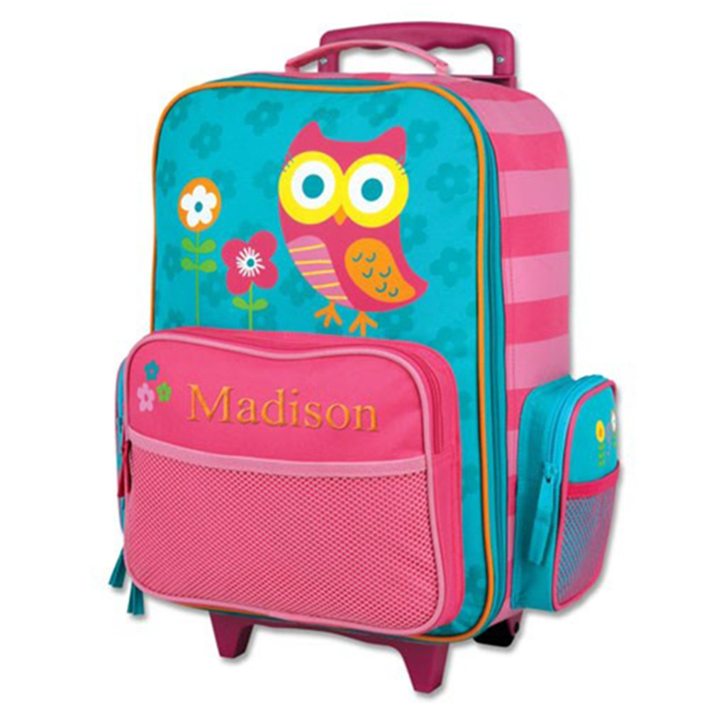 Embroidered Owl Rolling Luggage, 2 Wheels, Multiple Pockets, 14.5'' x 18''