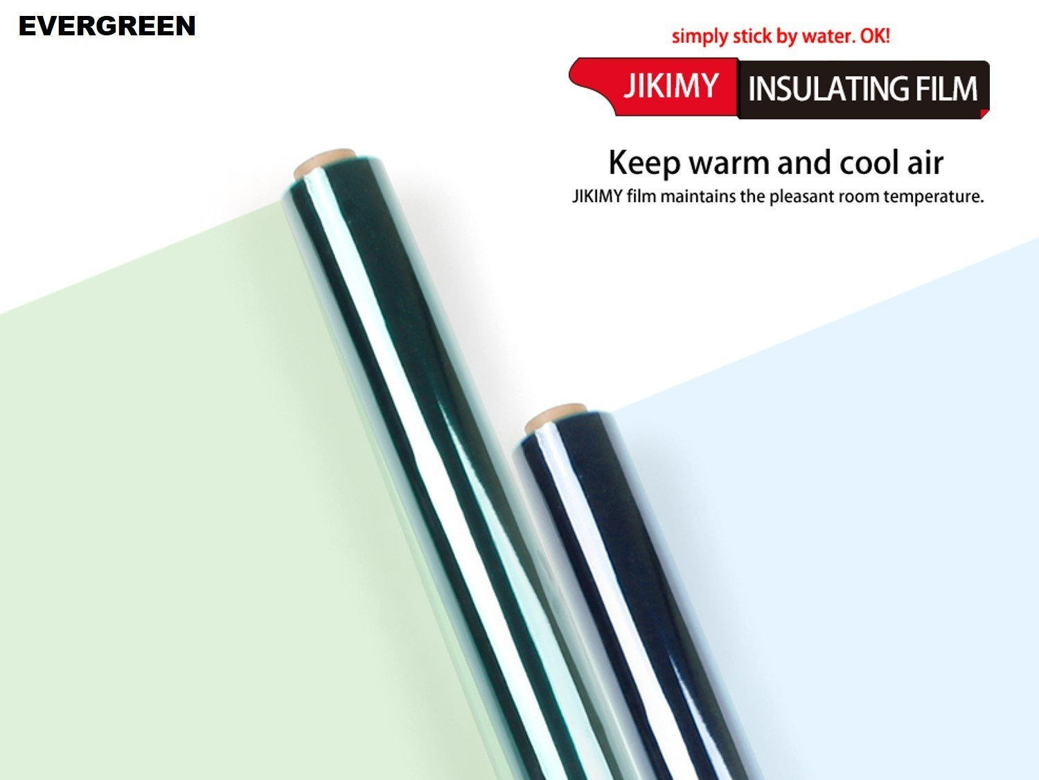 JIKIMY Insulating Film - Reusable Transparent Window Insulator for Heat Control in Four Seasnos, No Adhesive, Only Using Water, 39.4'' x 196.9''