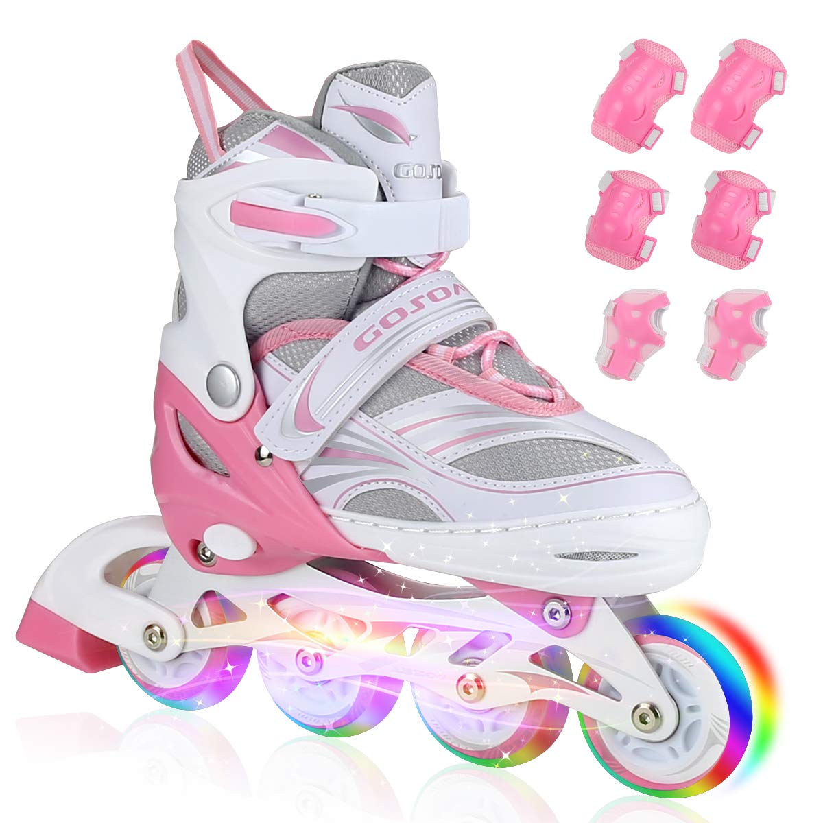 PETUOL Kids Inline Skates, Adjustable and Safe Durable Roller Skates with All 8 Full Light Up Illuminating Wheels, Fashionable Outdoor Sport Skates for Girls and Ladies