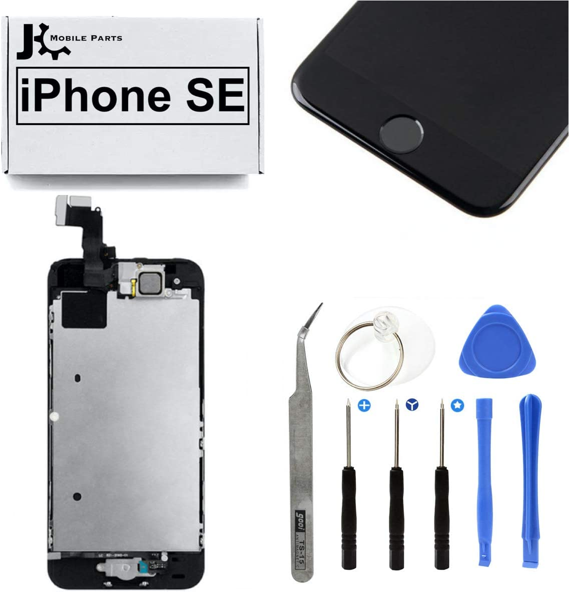 Full Screen Replacement LCD Touch Assembly Front Camera Ear Speaker Home Button with Repair Tools for iPhone SE 4.0 inch (Black)