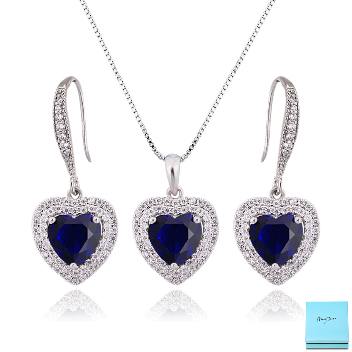 Love Jewelry Set for Women - Navy Sapphire Crystal Cubic Zirconia Love Dangle Earring and Heart of the Ocean Necklace Gift Set for Wedding Engagement Anniversary September Birthstone Birthday Gift