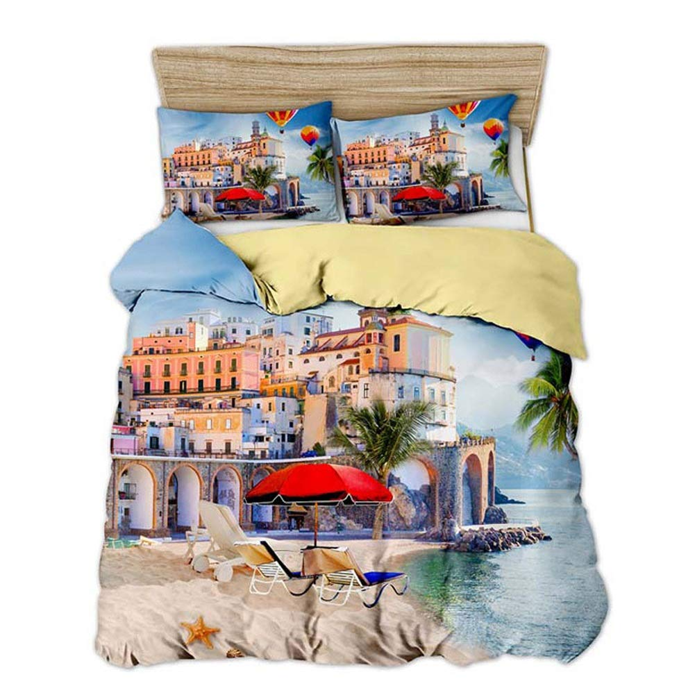 Bedding Duvet Cover Set Bedding Set Printed Duvet Cover Set with Pillowcase Home Textilestripe 3 Styles Washable for Adults and Teens (Color : C, Size : FR140x200CM) by OZYN-Duvet Covers