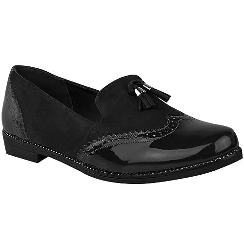 Fashion Thirsty Plano Mujer Mocasines con Borlas Zapatos Oxford Tartán de Cuadros Escuela Trabajo Talla: Amazon.es: Zapatos y complementos