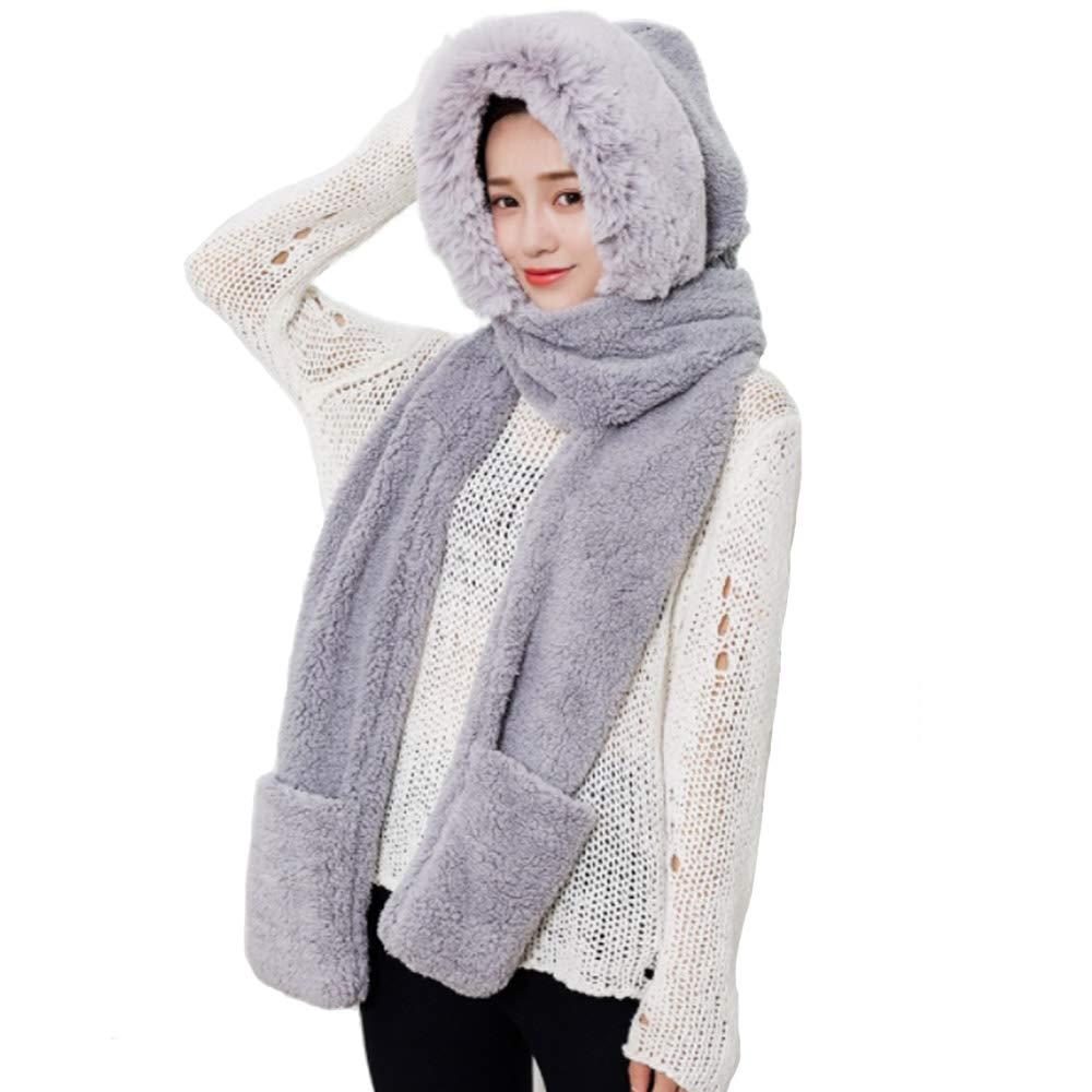 Winter Hat Scarf Glove Set for Women,Warm Women Siamese Hoodie Gloves Pocket Hat Long Scarf Shawl Wraps Coral fleece