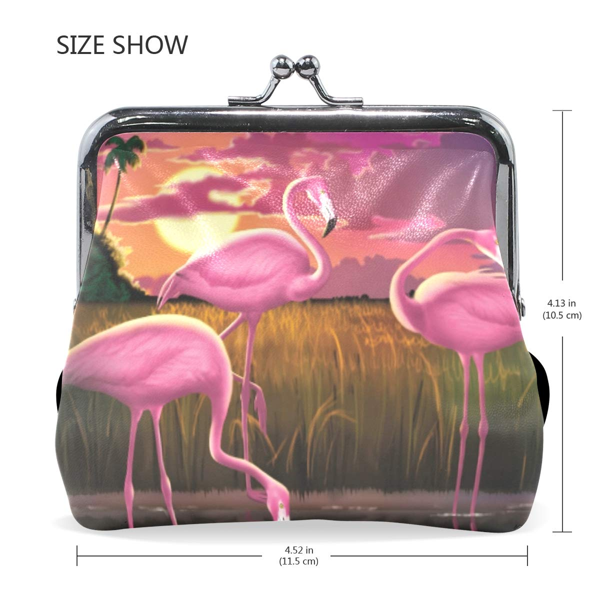 Womens Leather Kiss Lock Double-Sided Flamingo Coin Purse Wallets