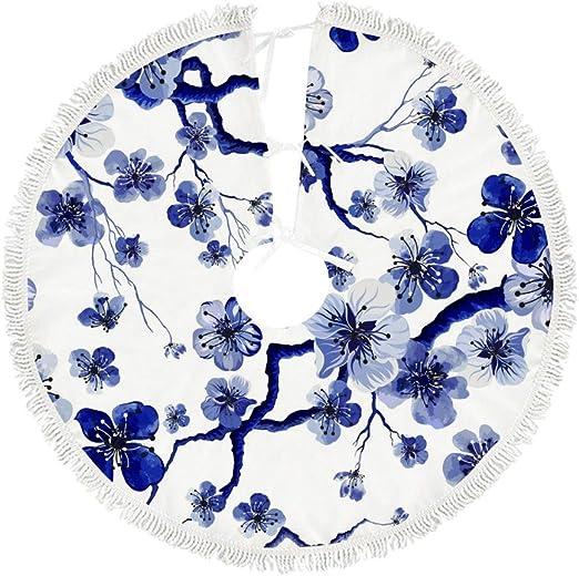 Ruchen Falda de árbol de Navidad Azul Acuarela Oriental Sakura ...