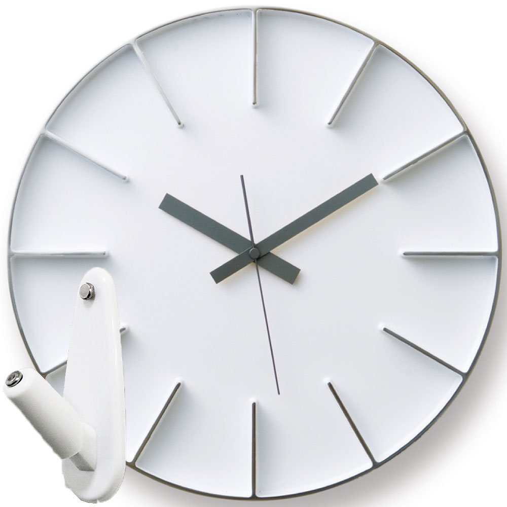 Lemnos Edge Clock AZ-0115 + 壁の穴が目立ちにくい時計用壁掛けフック 2点セット 掛け時計 掛時計 壁掛け時計 壁掛時計 フック おしゃれ エッジクロック Lサイズ タカタレムノス (ホワイト) B07649ZM6F ホワイト ホワイト