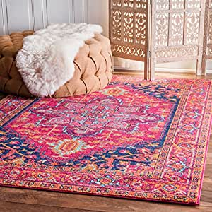 """Traditional Vintage Katrina Blooming Rosette Pink Area Rugs, 5 Feet by 7 Feet 5 Inches (5' x 7' 5"""")"""