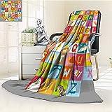Fleece Blanket 300 GSM Anti-static Super Soft alphabet for kids Warm Fuzzy Bed Blanket Couch Blanket(60''x 50'')