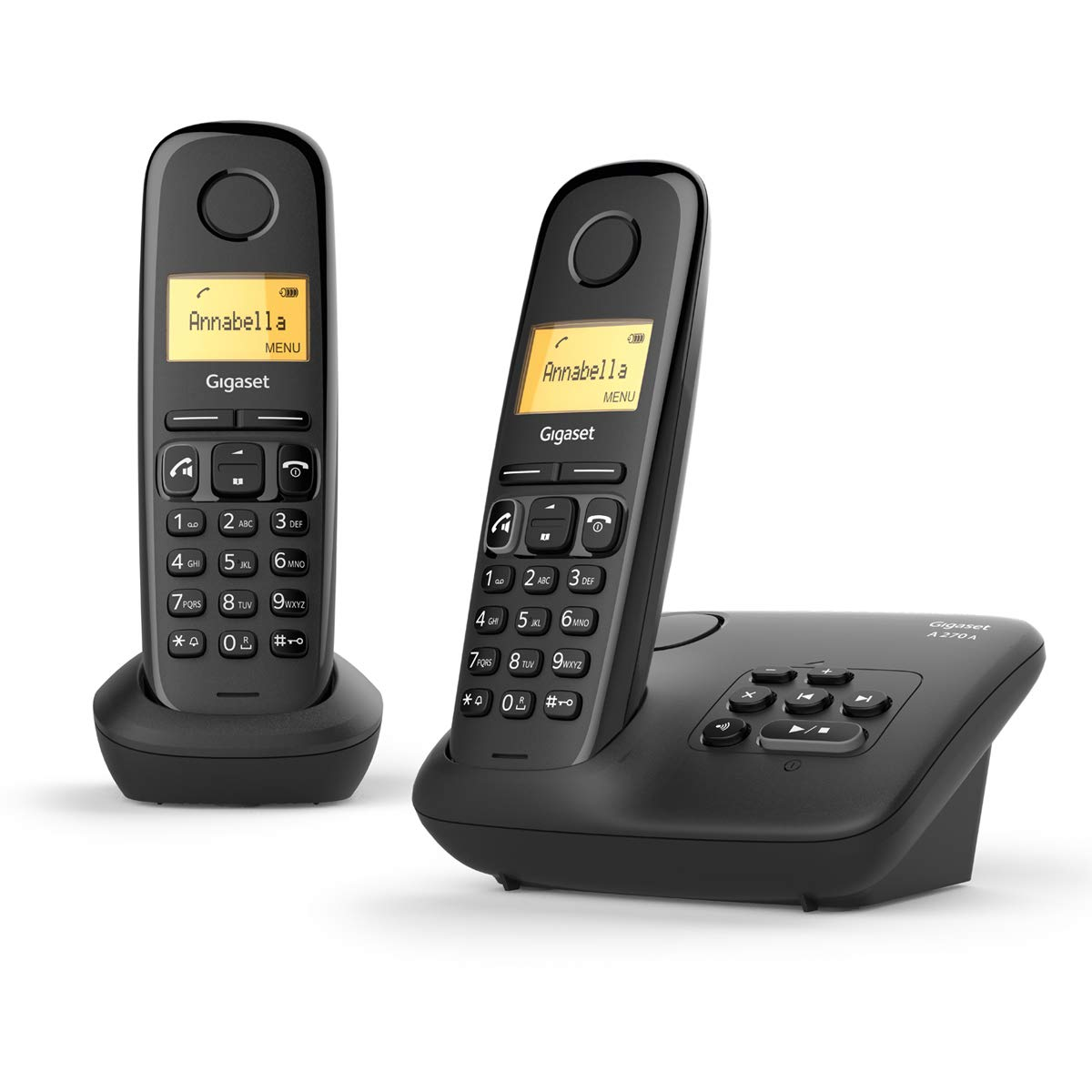 Gigaset A270A Duo Easy to use Twin Cordless Home Telephones with Answering Machine, Speakerphone & Hearing-aid-compatible, 2 year warranty (Pack of 2), Black